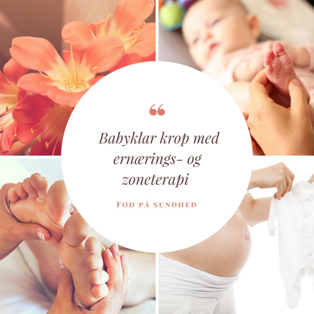 Fire billeder. et af en baby, en gravid kvinde, zoneterapubehandling og en blomst